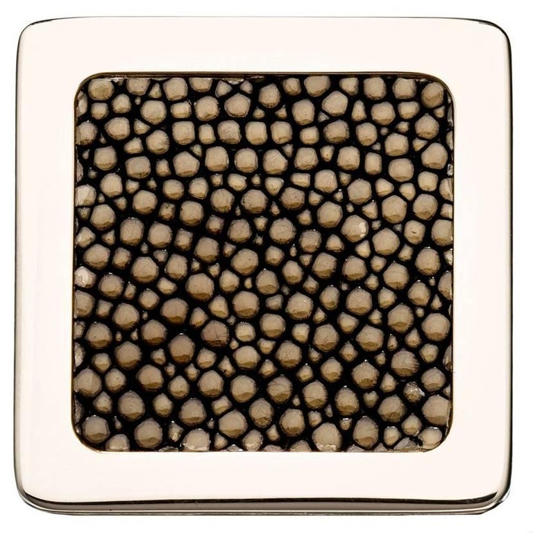"""""""Square Knob"""" Polished Nickel Cabinet Pull with Shagreen Inlay"""