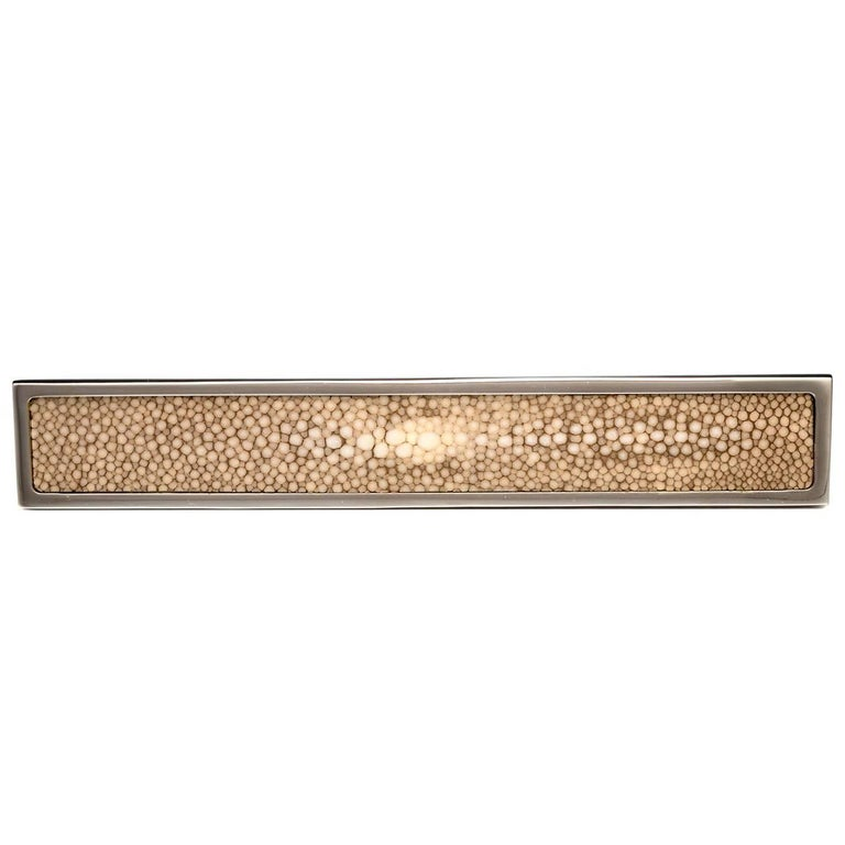 """""""Elipse"""" Flat Polished Nickel Cabinet Pull with Shagreen Inlay"""