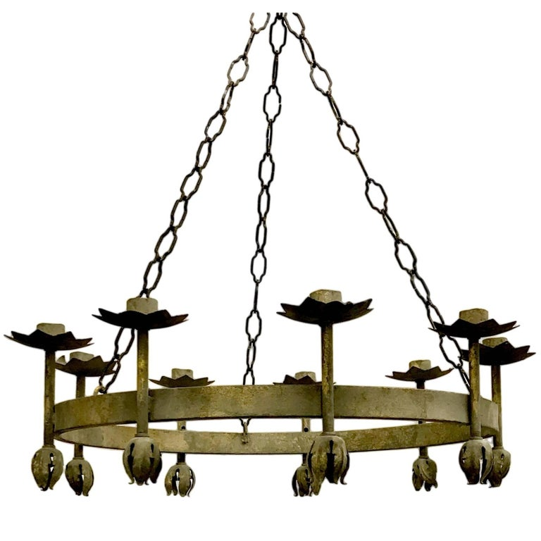 Pair of French Wrought Iron Chandeliers