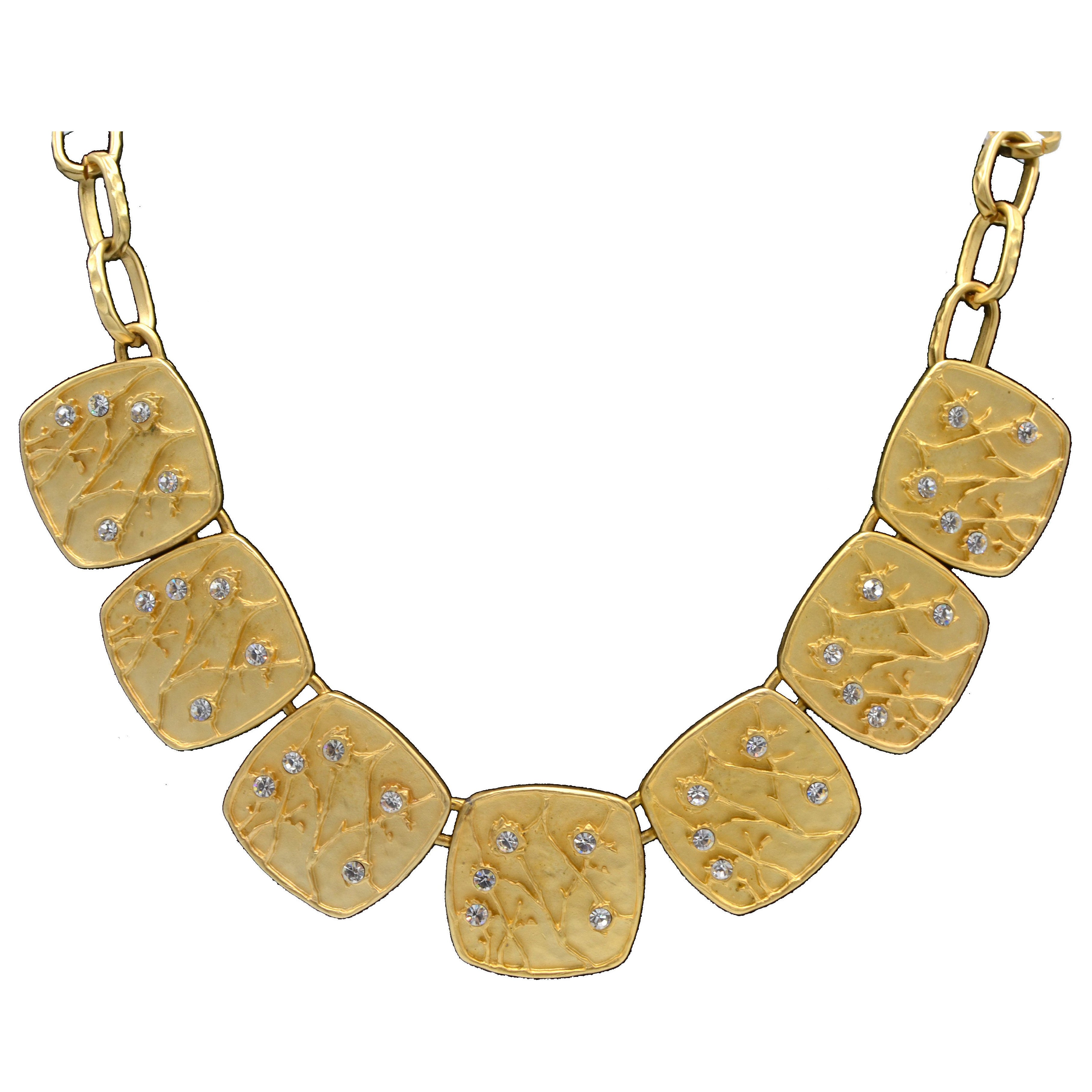 Kenneth Lane Gold Dipped Vintage Costume Necklace with Earrings