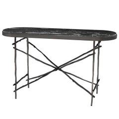 Black Branches Console Table with Black Marble Top