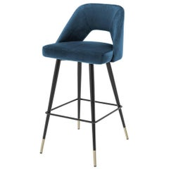 Perfecto L Bar Stool in Blue or Red or Green Velvet Fabric