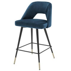 Perfecto M Bar Stool in Blue or Red or Green Velvet Fabric