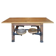 American 1930's Wood Table with Swing Arm Seats