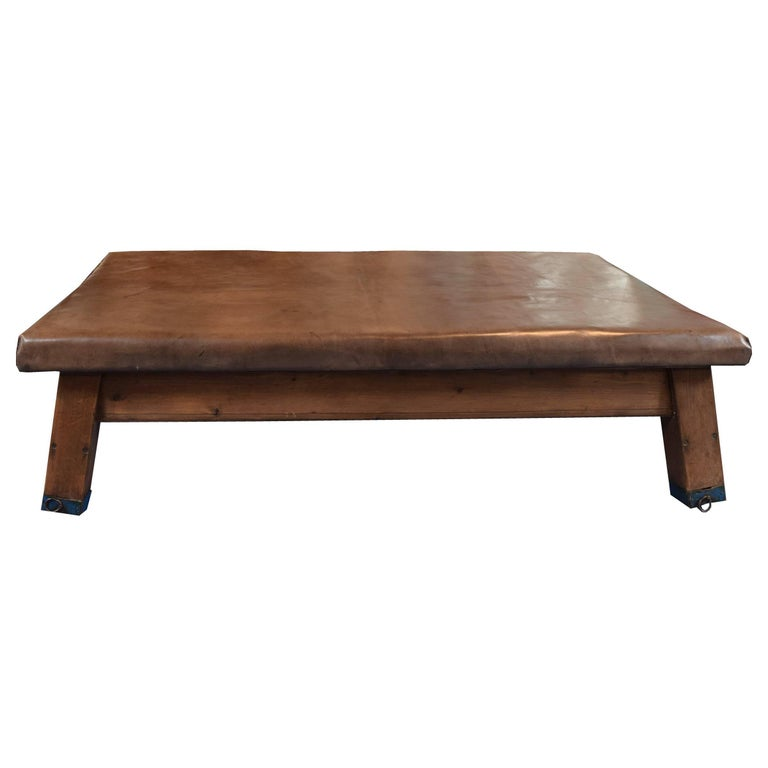 Wood and Leather Vaulting Bench or Table