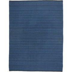 Scandinavian Modern Swedish Kilim Rollakan, Blue Flat-Weave Swedish Kilim Rug