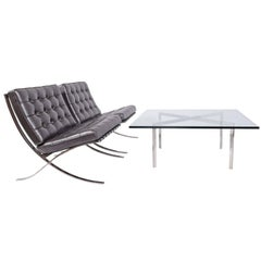 """Early Barcelona Table by Mies Van Der Rohe, Marked """"KP"""""""