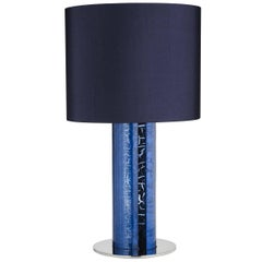 Contemporary Venetian Glass Table Lamp in Blue by Maurizio Alfier