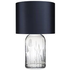 Contemporary English Crystal Tall Table Lamp With Handcrafted Glass Base