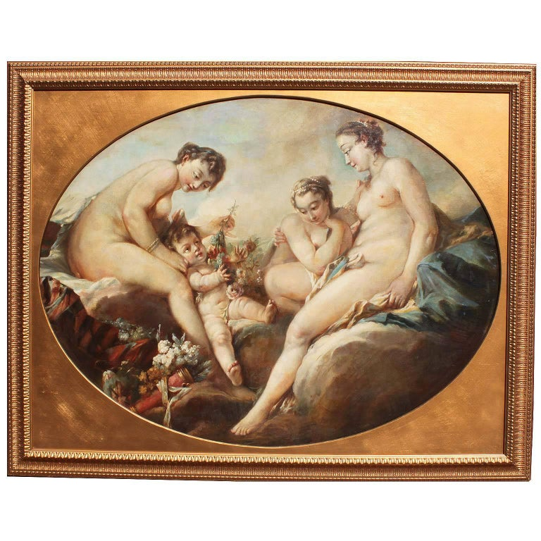 """French 19th Century Oil on Canvas """"Venus Disarming Cupid"""" after François Boucher For Sale"""