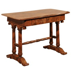 Biedermeier Figured Walnut Writing Table or Side Table