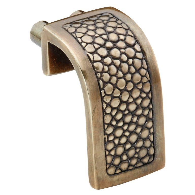 """""""Waterfall Ray"""" Cast Solid Brass Cabinet Pull with Stingray Design"""