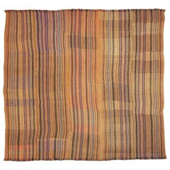 Antique Jajim Striped Banded Kilim Rug Blanket