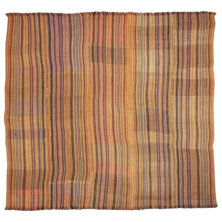Antique Jajim Striped Banded Kilim Rug Blanket For Sale