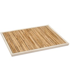 Salvatori Ishiburo Shower Tray in Crema d'Orcia & Teak Wood by Kengo Kuma