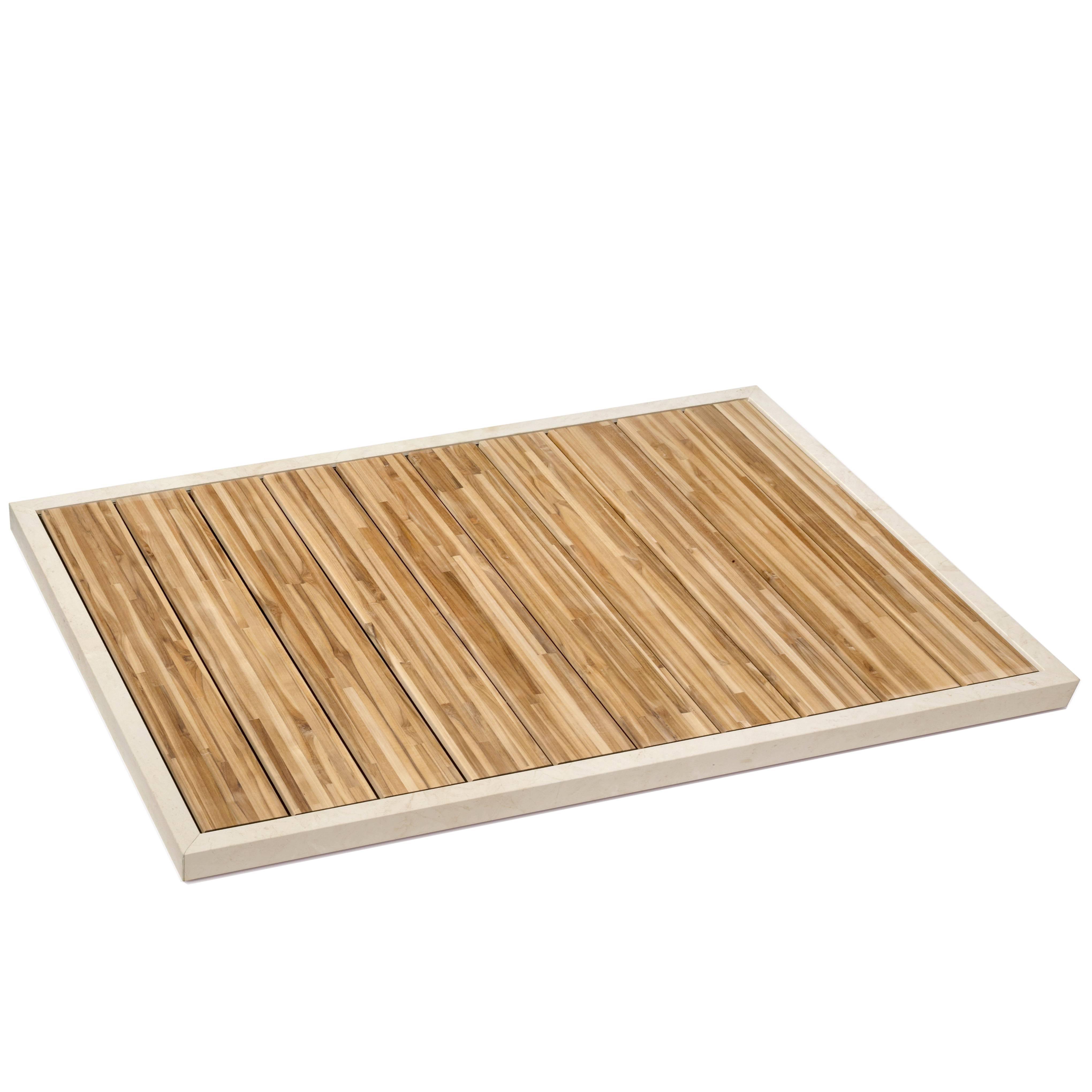 Salvatori Ishiburo Shower Tray In Crema Du0027Orcia U0026 Teak Wood By Kengo Kuma  For