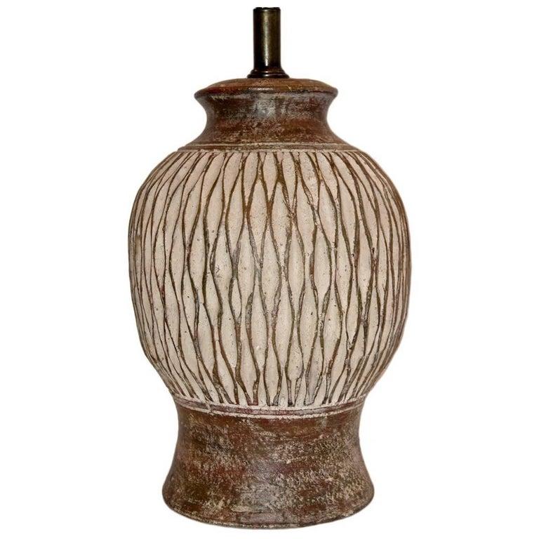 Single Unglazed Ceramic Table Lamp