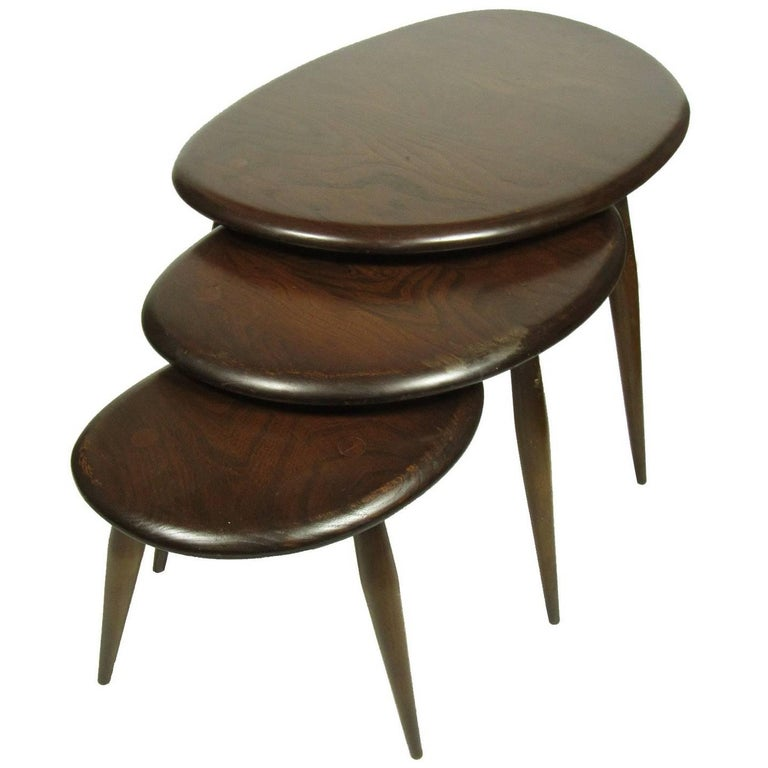 Set of Three Mid-Century Modern Ercol Pebble Elmwood Nesting Tables