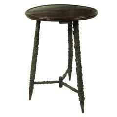 Antique English Rustic Tripod Leg Side Table Great Patina