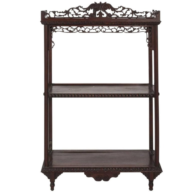 Late 19th Century Chinese Rosewood Hanging Shelve