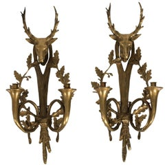 Pair of Early 20th Century Bronze Stag Head Sconces