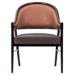 Contemporary Grace Lounge Chair in Genuine Leather and Solid Wood