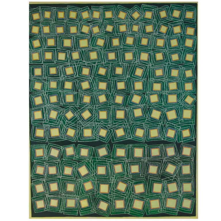 Abstract Painting Titled Yellow Squares on Green by Artist Tina Bluefield