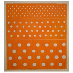 Abstract Painting Titled Pale Circles on Orange by Artist Tina Bluefield
