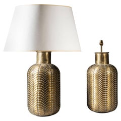 Pair of Moulded Brass Lamps
