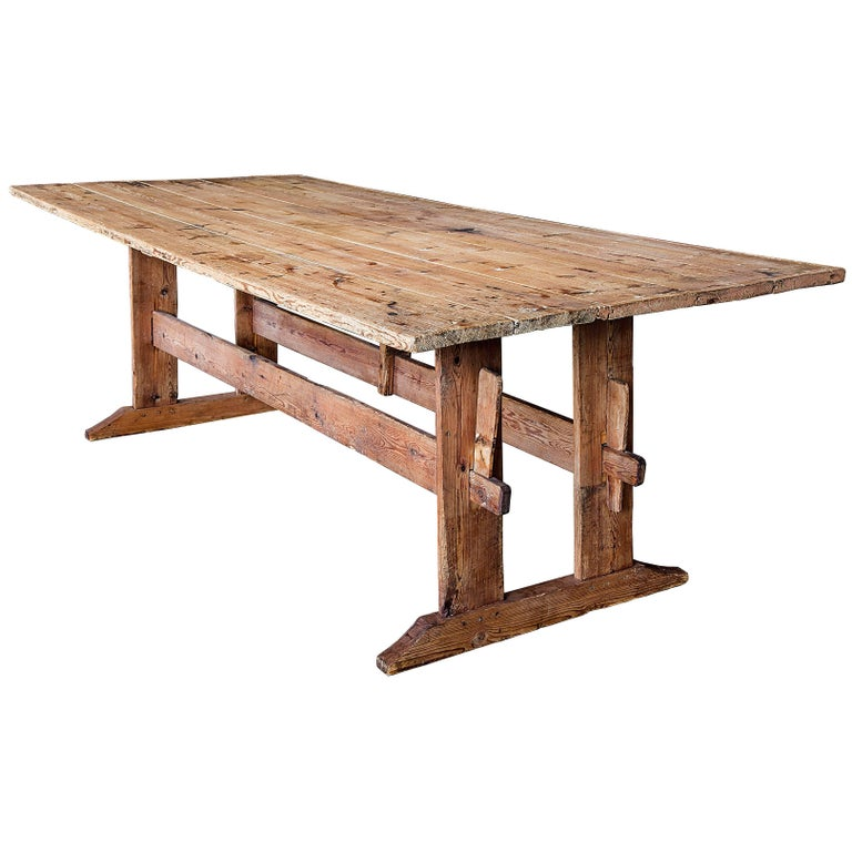 19th Century Swedish Double Trestle Bare Table