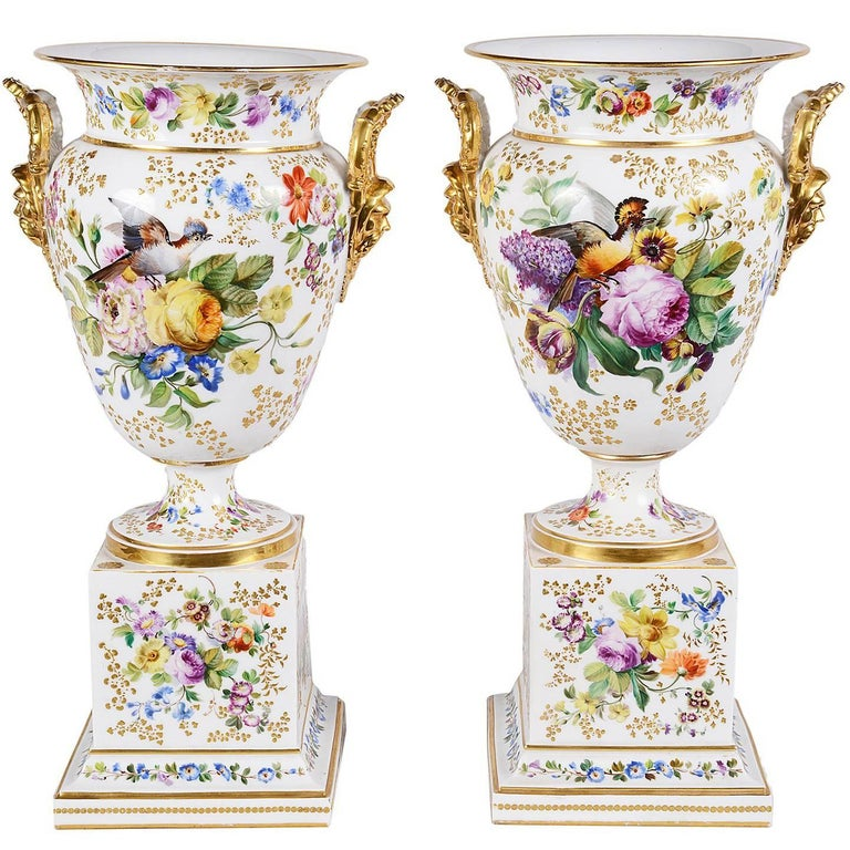 Large Pair of Jacob Petit Porcelain Urns, 19th Century