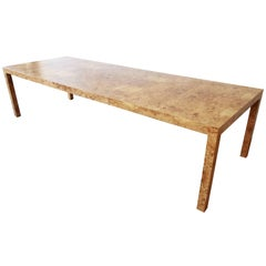 Milo Baughman for Directional Burl Wood Parsons Extension Dining Table