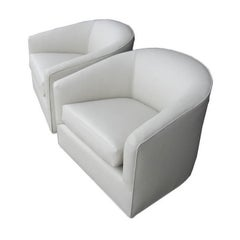 Pair of Milo Baughman White Swivel Lounge Chairs