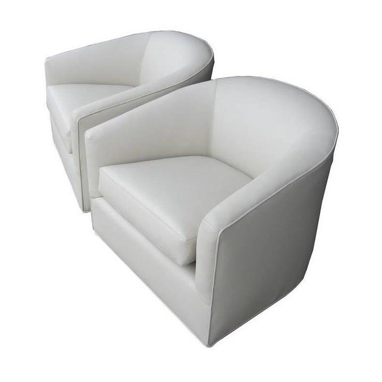 Pair of Milo Baughman White Swivel Lounge Chairs