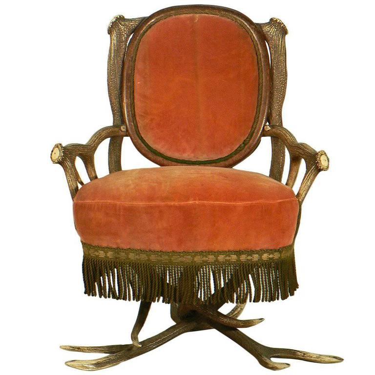 Antler Easy Chair, Austria, circa 1880 For Sale