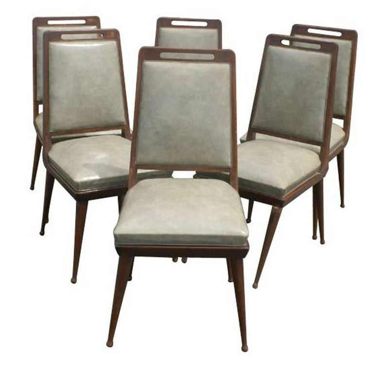 6 Italian Mid Century Modern Dining Chairs   For Sale