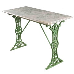 French 19th Century Painted Bistro Table with Marble Top