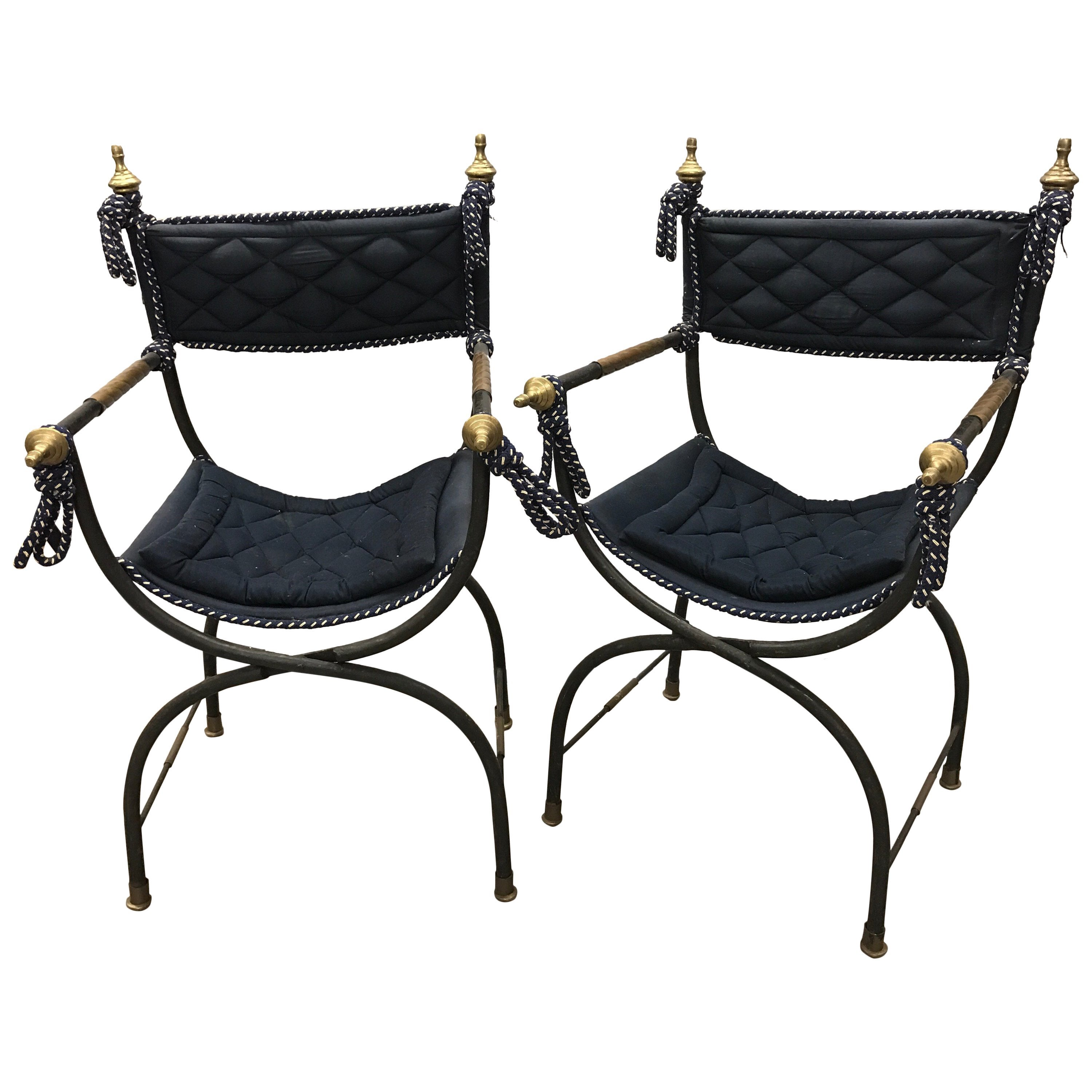 Pair of Italian Savonarola Campaign Folding Chairs Maison Jansen