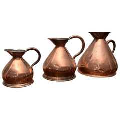 Matched Set of 19th Century Copper Pitchers 'Stamped'