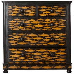19th Century Victorian Découpage Fish Chest of Drawers