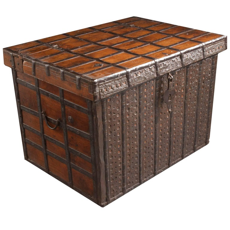 19th Century Anglo-Indian Teak and Iron Trunk