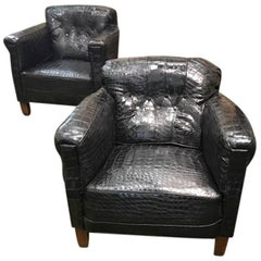 Pair of French Art Deco Framed Black Alligator Upholstered Lounge Chairs