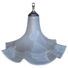 "Large White Murano Glass ""Fazzoletto"" or Handkerchief Pendant Lamp"