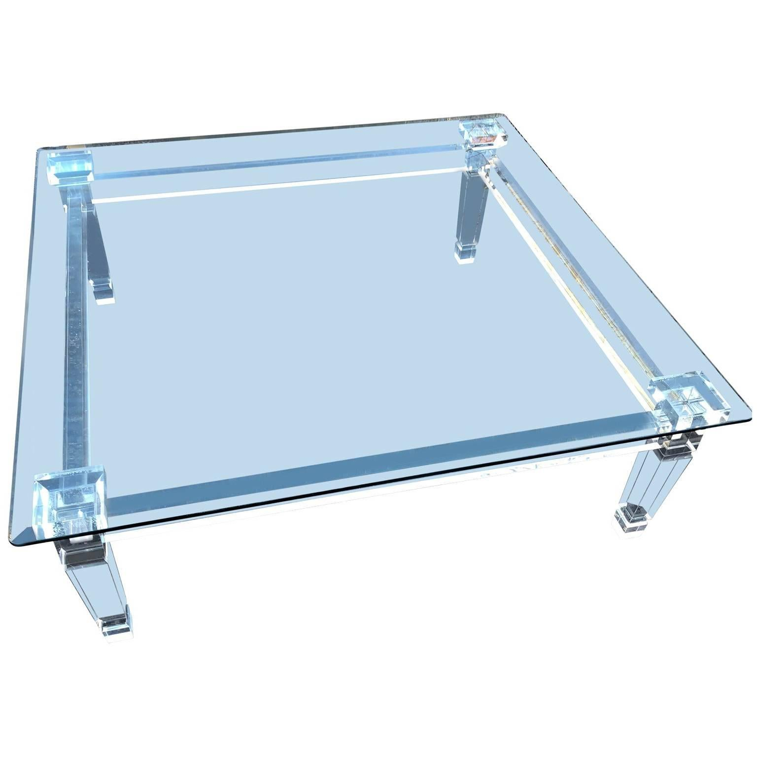 Large Modern Square Lucite Glasstop Cocktail Table By Plexi Craft For Sale