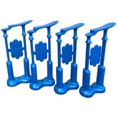 Set Of Four Decorative Blue Powder-Coated Cast Iron Shoe-Shine Stands