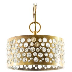 1 of 8 Pendant or Flush Mount Lights, Aged Brass Glass, Rupert Nikoll, 1960