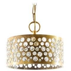 1 of 8 Pendant Lights, Aged Brass Glass, Rupert Nikoll, 1960