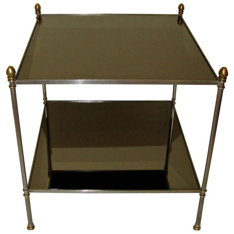 Jansen Style Steel and Brass Two-Tier Side Table
