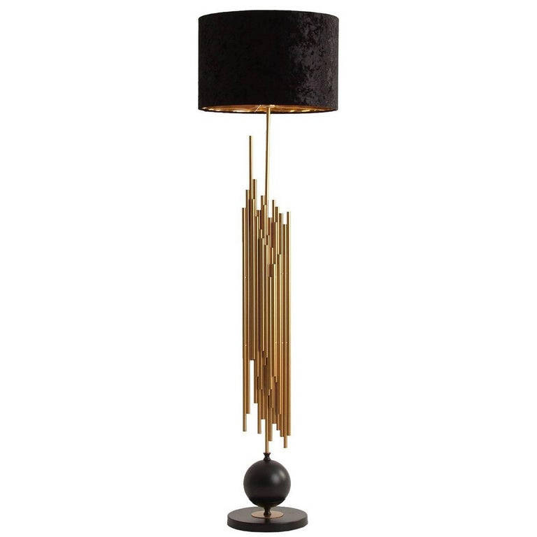 Gilded Cylinder Floor Lamp in Gold Finish