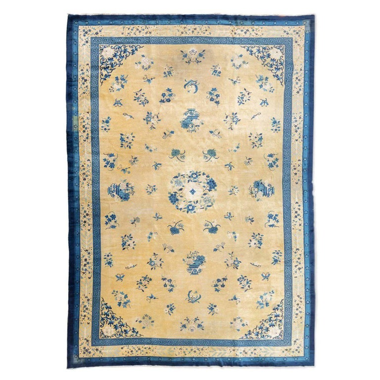 Blue And White Chinese Rugs: Late 19th Century Blue Over Gold Background Wool Chinese